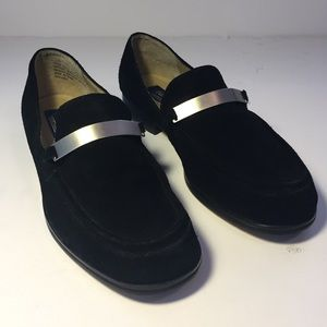 Old Navy Black Suede Leather Loafers Women Size 11